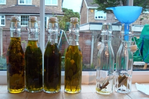 Final bottles of olive oil