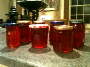 Jelly in the warmed jars