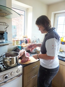 Steph preparing pork cheek