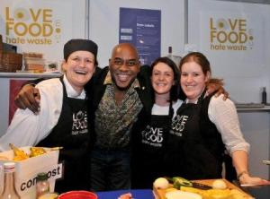 Ainsley Harriott popped over to say hello at the Love Food Hate Waste stand