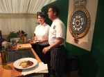 Tim Bilton and Natalie from The Butchers Arms at Hepworth and venison dish