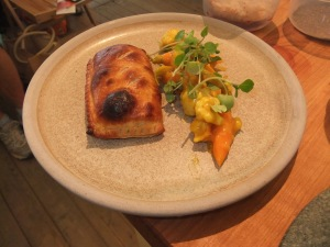 Rabbit turnover with homemade Piccalilli