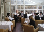 Briefing the Restaurant Manager and the team before the Devonshire Food Festival