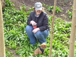 Honey and Steph in the Wild Garlic